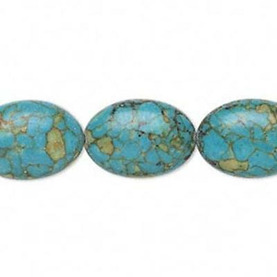 1438 Bead Assembled Turquoise Ovals 18mm 16inch *UK EBAY SHOP*