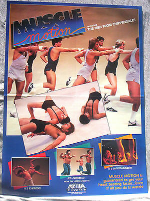 MUSCLE MOTION Men From Chippendales exercise poster original 1983 video promo