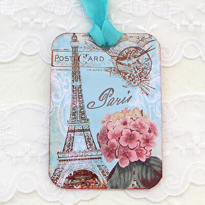 NEW Eiffel Tower Paris- Hydrangeas- Hand Stamp Gift Favour Tags-Tea Party-6