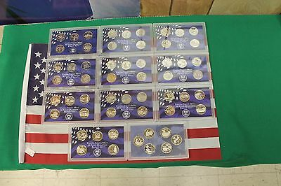 1999-2009 S Proof State Quarter set run - No boxes or COA - 56 clad coins