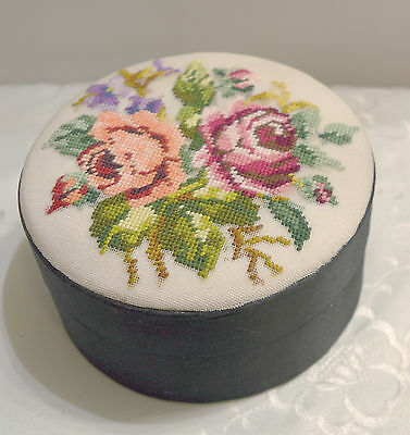 Black & White Satin Trinket Box With Hand Done Petit Point Roses Pattern  On Lid