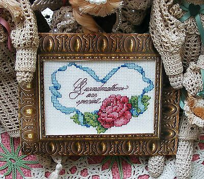 Finished  Cross Stitch For Framing Or Small Pillow  -  GRANDMOTHERS ARE SPECIAL