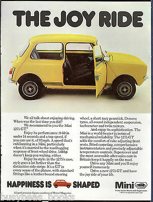 1978 MINI 1275 advertisement, Austin Morris, Mini 1275 GT, British advert