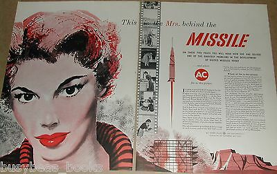 1958 AC Spark Plug 2-page advert. Guided Missiles, cute redhead Housewife duties