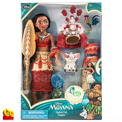 """Disney Moana Singing Feature Doll Set 11"""" with Pua Heihei Light Up Necklace NEW"""