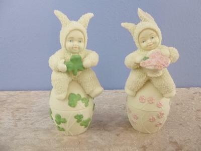 Snowbunnies May Day Delivery # 26381 26382 EASTER  Snowbunny May Luck Be w/ You