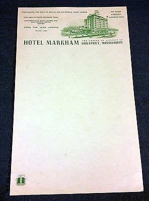 Vintage 1940s HOTEL MARKHAM Stationery Letterhead from Gulfport Mississippi