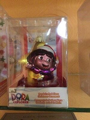 "DORA the EXPLORER 4 1/4"" Hand Crafted GLASS Ornament Kurt S Adler NIP"