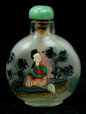 Inside Painted Frosted Glass Chinese Snuff Opium Bottle Jade Stopper 18/19th L6Z