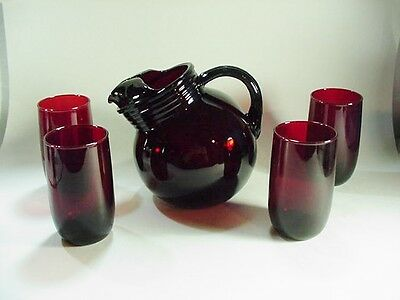 Anchor Hocking Roly Poly Ruby Red Tilted Ball Pitcher & 4 Tumblers / Glasses