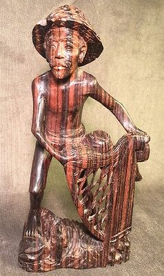 Vintage Chinese Carved Wood Sculpture Fisherman with Fish Net Carving Detailed