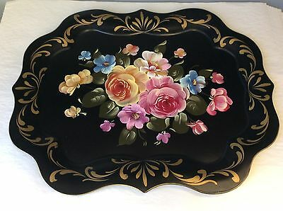 Vintage Retro Metal Tole Hand Painted Serving Tray Roses Floral Toleware