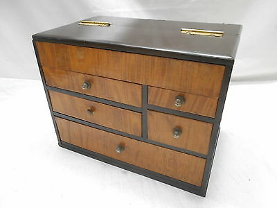 Vintage Keyaki and Kiri Wood Sewing Box Japanese Drawers Circa 1950s #604