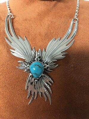 Navajo Native American Turquoise Phoenix Necklace Set Charles J. Stunning #4 Wow