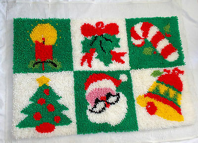 Latch Hook Christmas Rug Needs Binding Attached 23 x 35""
