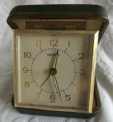 Vintage Seiko Travel Alarm Clock Made in Japan Collectable Small Clock 1960 s