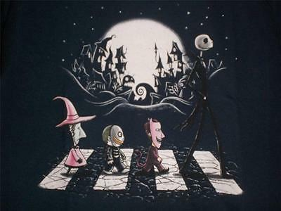 "TeeFury Nightmare YOUTH LARGE ""Halloween Road"" Before Christmas Shirt NAVY"