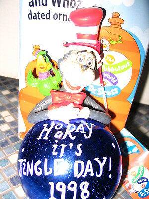Dr Seuss Cat In The Hat Jingle Christmas Ornament 1998 Bauble Brand New Rare