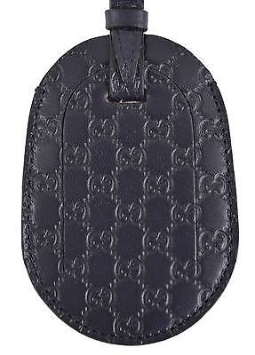 New Gucci Navy Blue Leather Micro Guccissima GG Logo Luggage Travel ID Tag