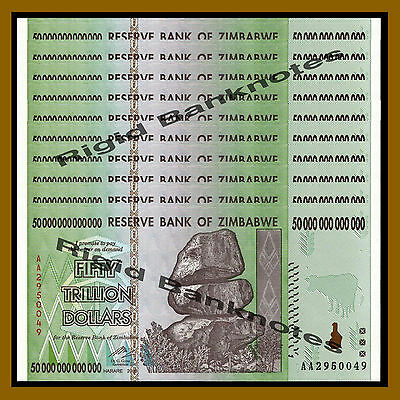 10 Pcs Bundle x Zimbabwe 50 Trillion Dollars, 2008 AA = 5 x 100 Trillion Cir