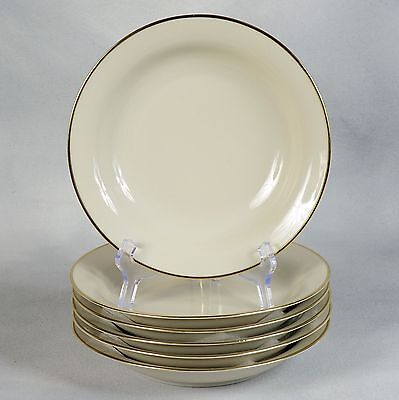 6 Winterling Marktleuthen Bavarian Soup Bowls - Offwhite With Gold Trim