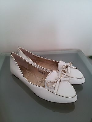 New women's white gold shoes flats silky lining size 8