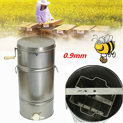 Large 2 Frame Stainless Steel Honey Extractor Beekeeping Equipment Silver 0.9mm