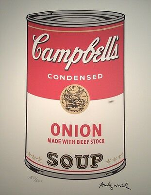 Andy Warhol original signiert limitiert Campbells Onion Beef Stock Soup Dose