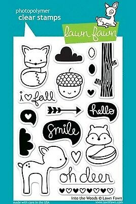 Lawn Fawn INTO THE WOODS clear stamp set. BNIP. Craft. Scrapbook