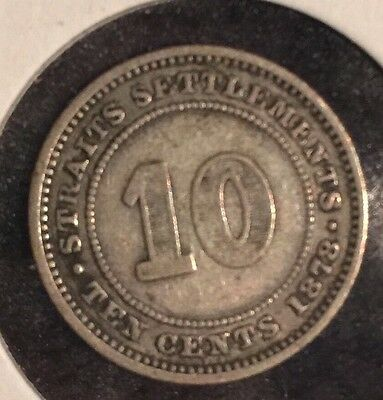 1878 Straits settlements 10 Cents Coin