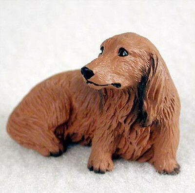 DACHSHUND (RED LONGHAIRED) TINY ONES DOG Figurine Statue Pet Resin
