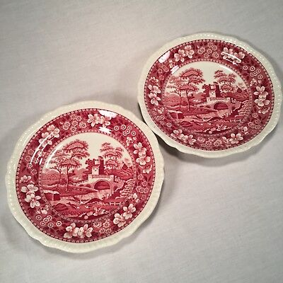 Spode/Copeland SPODE'S TOWER PINK 2 Salad Plates ~ Old Mark 1920s-50s ~ England