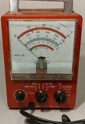 Vintage - Simpson - Model 501 - Transistorized - Tach-Dwell Tester  - UN-Tested