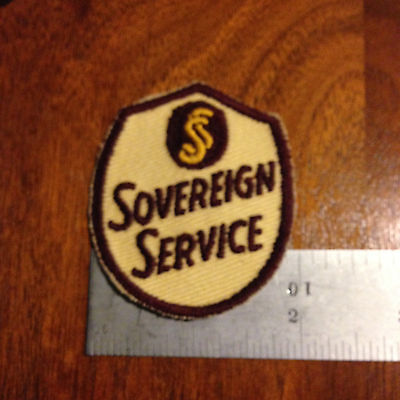 Vintage Sovereign Service  Gasoline Oil Company Jacket Shirt Advertising Patch