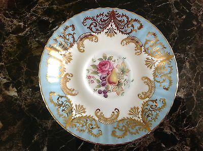 Paragon Bone China Pale Blue & Gold saucer plate only Pink  Rose & fruits