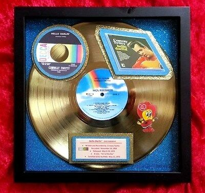 "CONWAY TWITTY   Gold Record (Album) ""Hello Darlin' ""  (RIAA Certified 1972)  Exc"