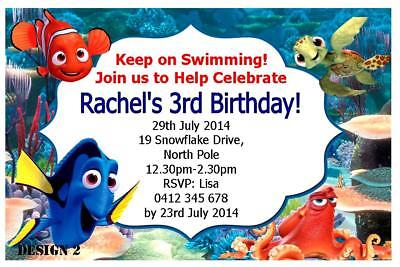 FINDING NEMO DORY Birthday Party Kids Invitations Lanyard