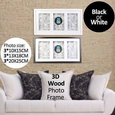 """3 in 1 3D Wood Frame Black or White Hang on Wall Black White 4""""x6"""" 5""""x7"""" 8""""x10"""""""