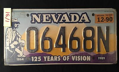 Nevada License Plate 06468N 125 Years Of Vision