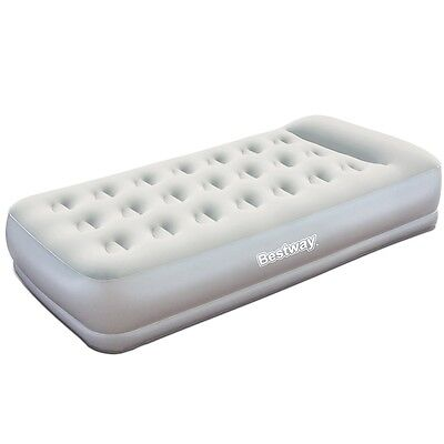 NEW Quick Inflate Deflate Grey Single Air Bed Built-in 220-240V Electric Pump