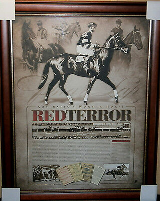 Phar Lap The Red Terror Melbourne Cup Horse Racing Limited Edition Print Framed