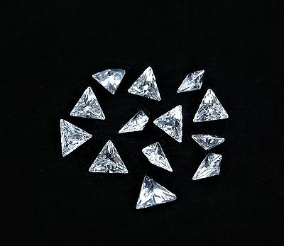 White CZ Triangle Normal Cut Stones SIZE CHOICE Cubic Zirconia Loose Gemstones