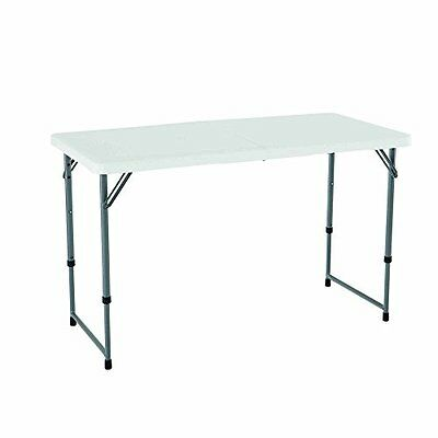 Lifetime Height Adjustable Folding Utility Table, 48 by 24 Inches, White Granite