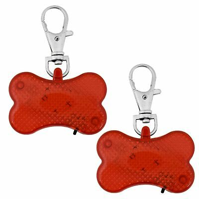 2 x Dog Cat Pet Safety Flasher LED Light Collar Hi Visibility Tag High Viz Bone
