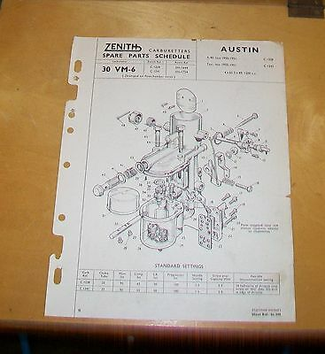 Austin A40 Devon Fx3 Taxi Zenith 30 Vm-6 Carburetter Spare Parts List.