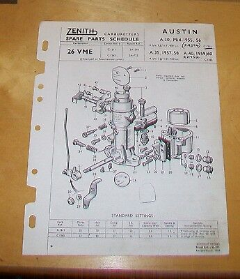 Austin A30 1955/6 A35 1957/58 A40  Zenith 26 Vme Carburetter Spare Parts List.