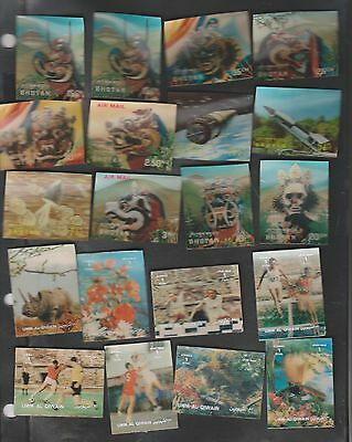 A Collection of 70 different MNH 3D stamps of Bhutan & Umm Al Qiwain.