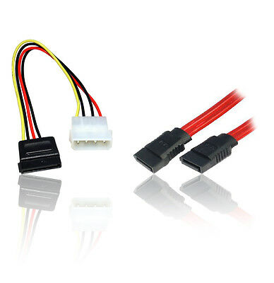 SATA Serial ATA Data & Power HDD Hard Disk Drive Cable Lead Wire Combo/Twin Pack