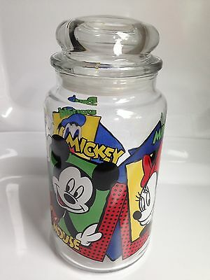 DISNEY Glass Canister Jar, Mickey Mouse, Donald Duck, Anchor Hocking