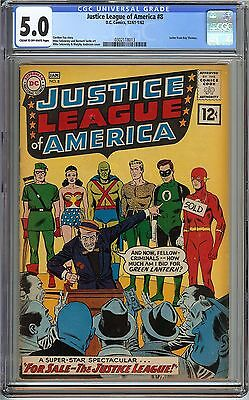 Justice League of America #8 CGC 5.0 VG/FN DC Sekowsky Anderson ROY THOMAS